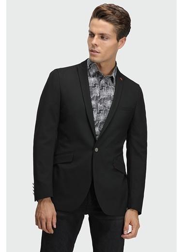 TWN Slim Fit Armürlü Kumaş Ceket Siyah